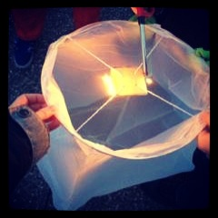 The kids loved helping lite our lantern.