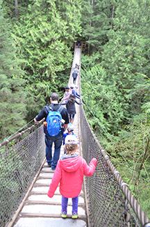 Hiking across Lynn Valley Suspension Bridge