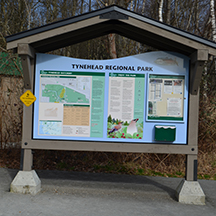A beautiful map welcomes you to Tynhead Park and helps you get oriented to the space.