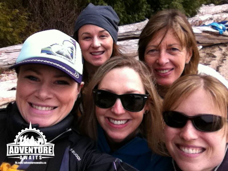 Girls Kayaking trip along the Sunshine Coast. Hosted by Pedals and Paddles out of Sechelt, BC