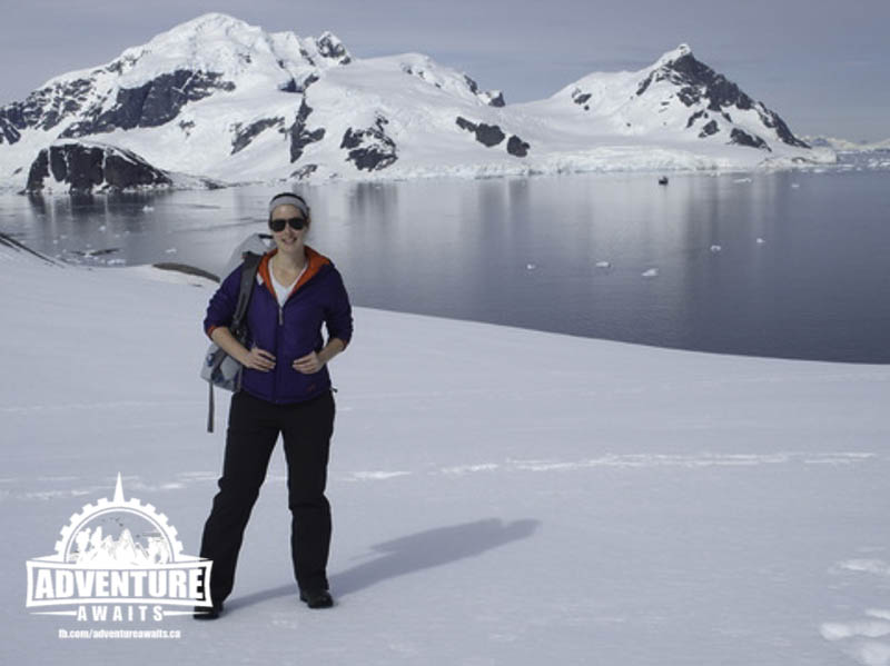 Jennifer lands with two feet on the Antarctic Shore!