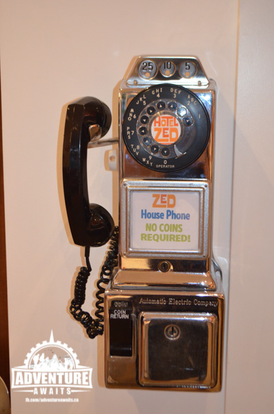 Hotel Zed... complementary phones! Now I wonder if kids these days can figure out how to use them?!?