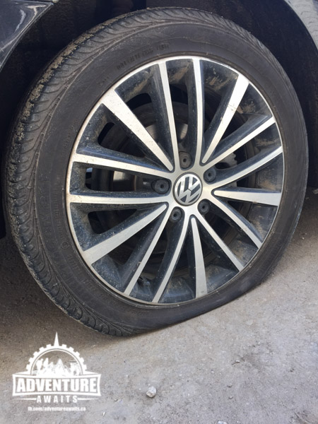 Sure, a flat tire, why not add that to the list! Thank goodness we got BCAA!