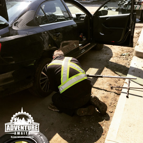 Our BCAA service came in handy and the guys at Kal Tire were AMAZING to deal with. They fixed our tire holes for free!