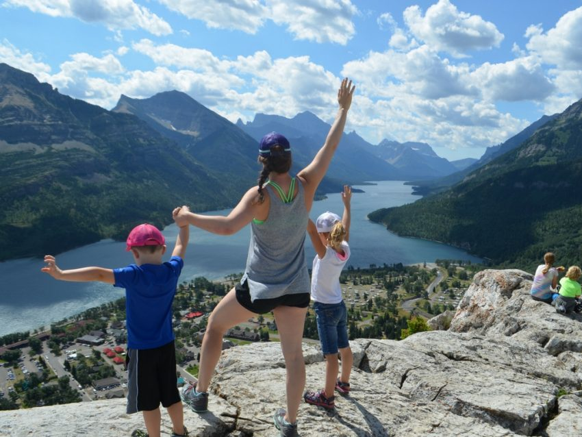 Jami Savage with kids at the top of Bear's Hump Hike