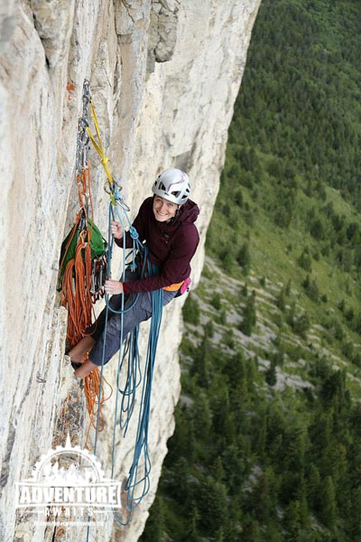 Hanging at the belay during an attempt on Blue Jeans (5.13b multi pitch) in the Canadian Rockies. Photo: Wiktor Skupinski