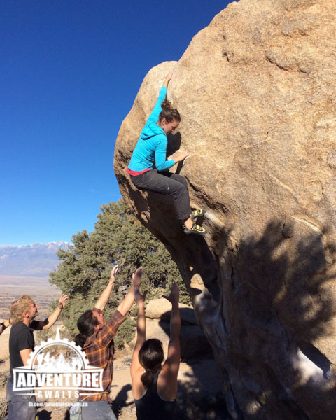 Bouldering with a fun crew in Bishop, CA. Photo: Stacey Weldon
