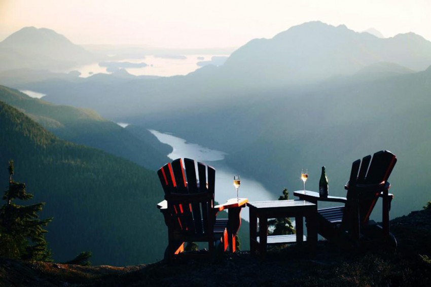 Lawn chairs on a mountain at Clayoquot Wilderness Resort