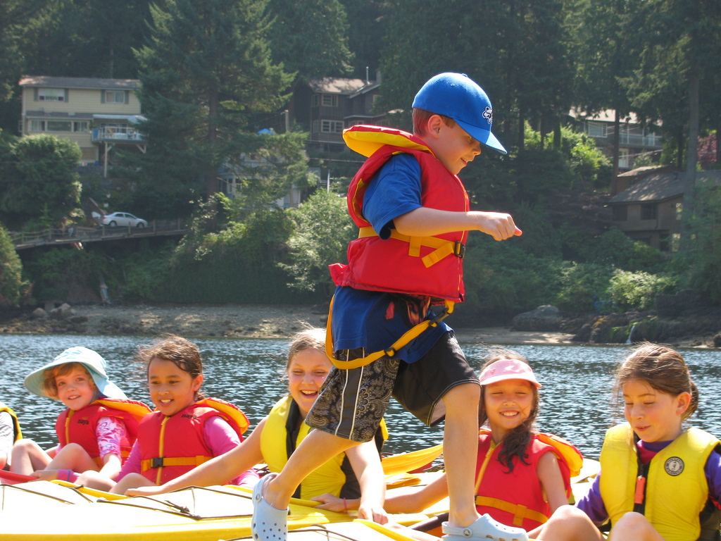 Kids Kayaking at Camp for the best adventure camps for kids list