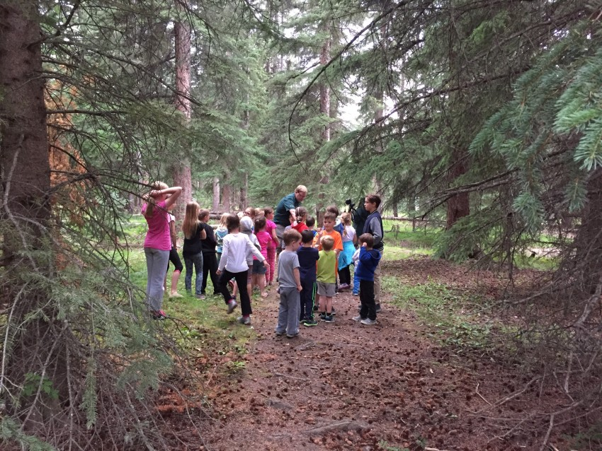 Kids filming a video for the parks xplorers program