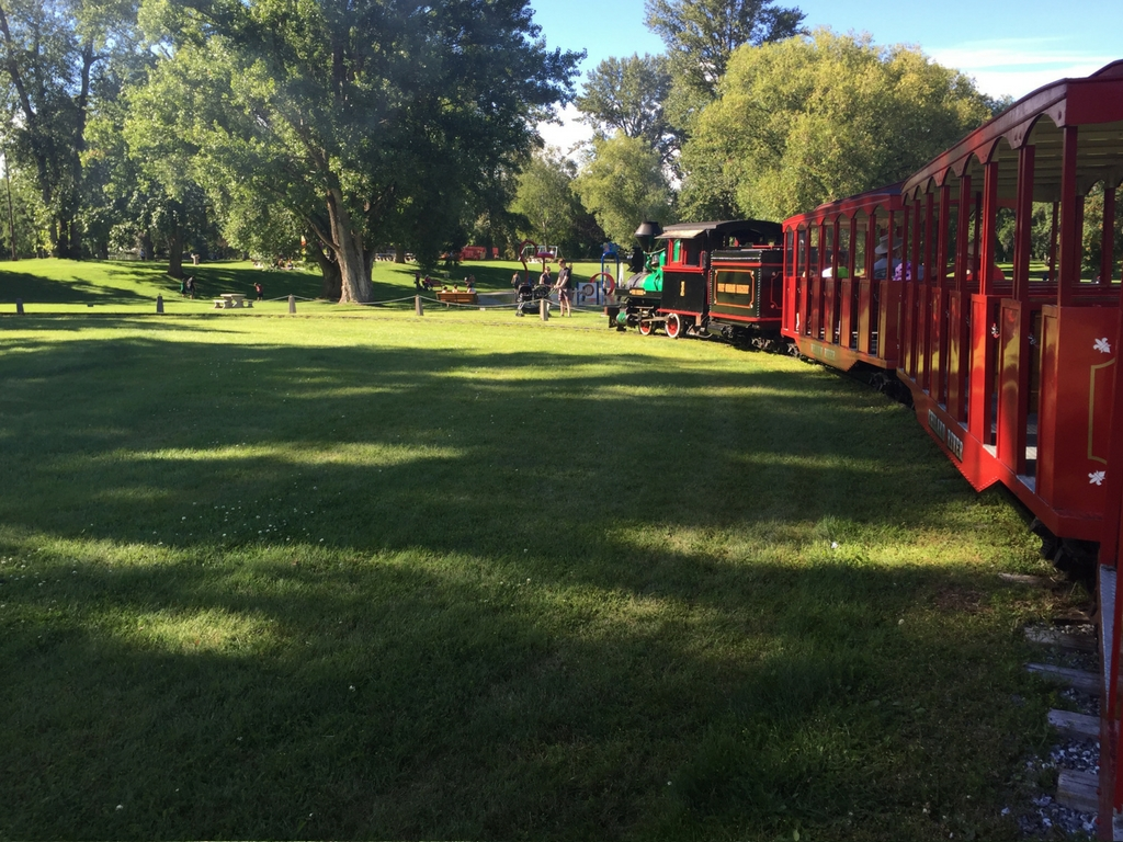 Train in a park from our explore Prince George by bus trip