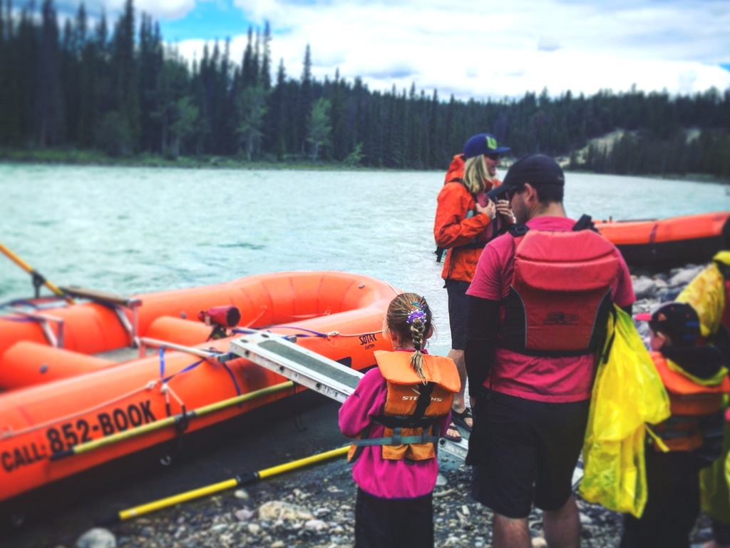 Getting ready to raft with Jasper Raft Tours