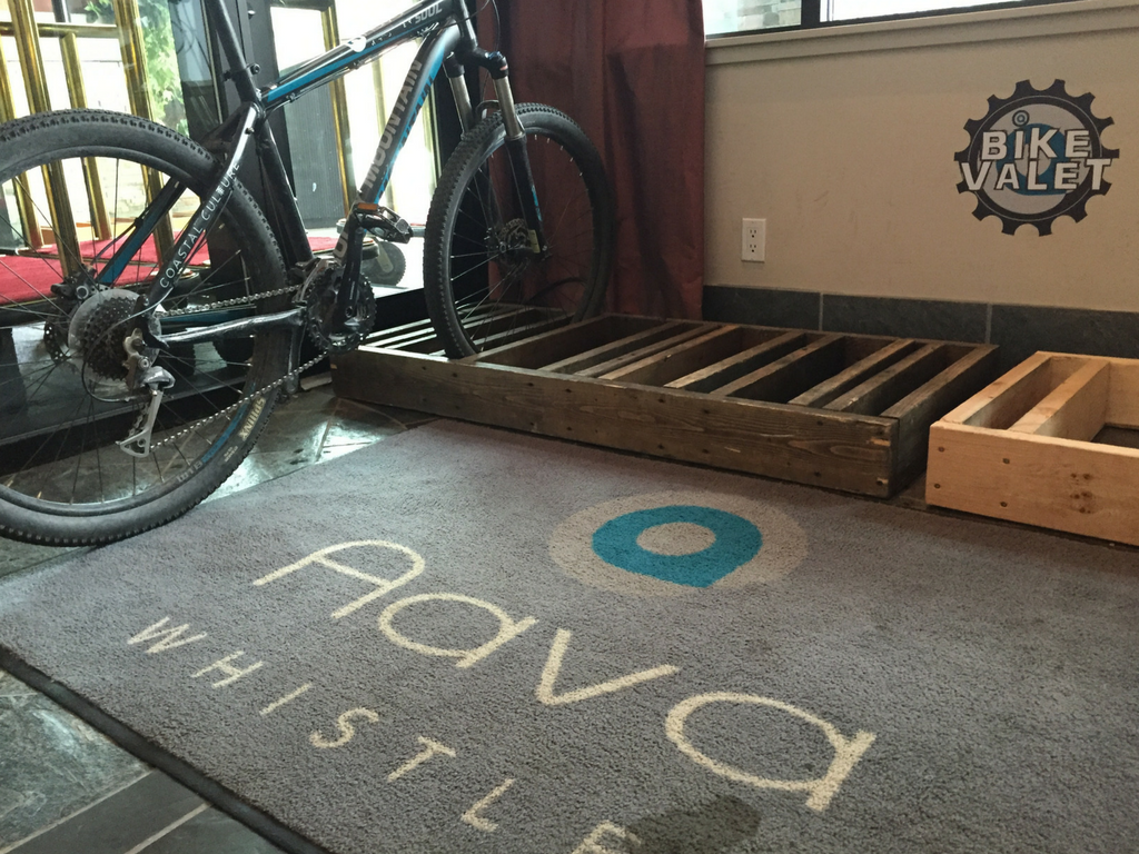 bike parked in Aava Hotel lobby