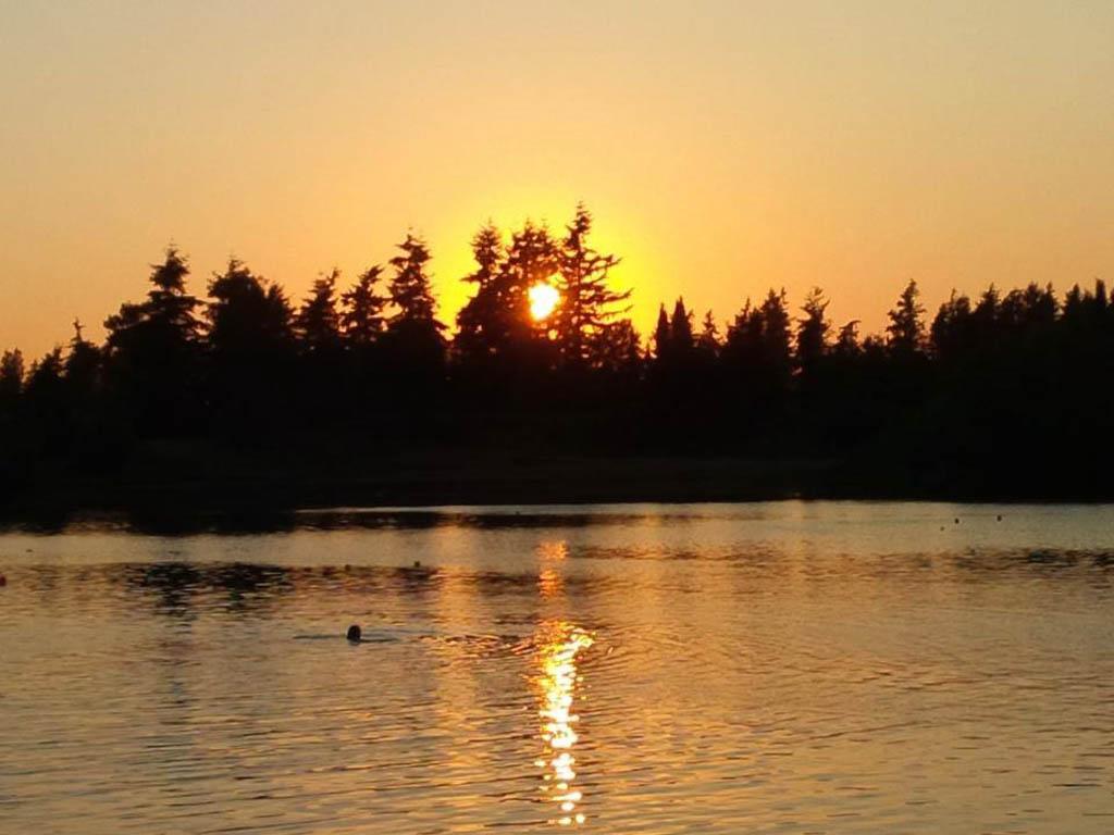 sunset view across Albert Dyck Lake