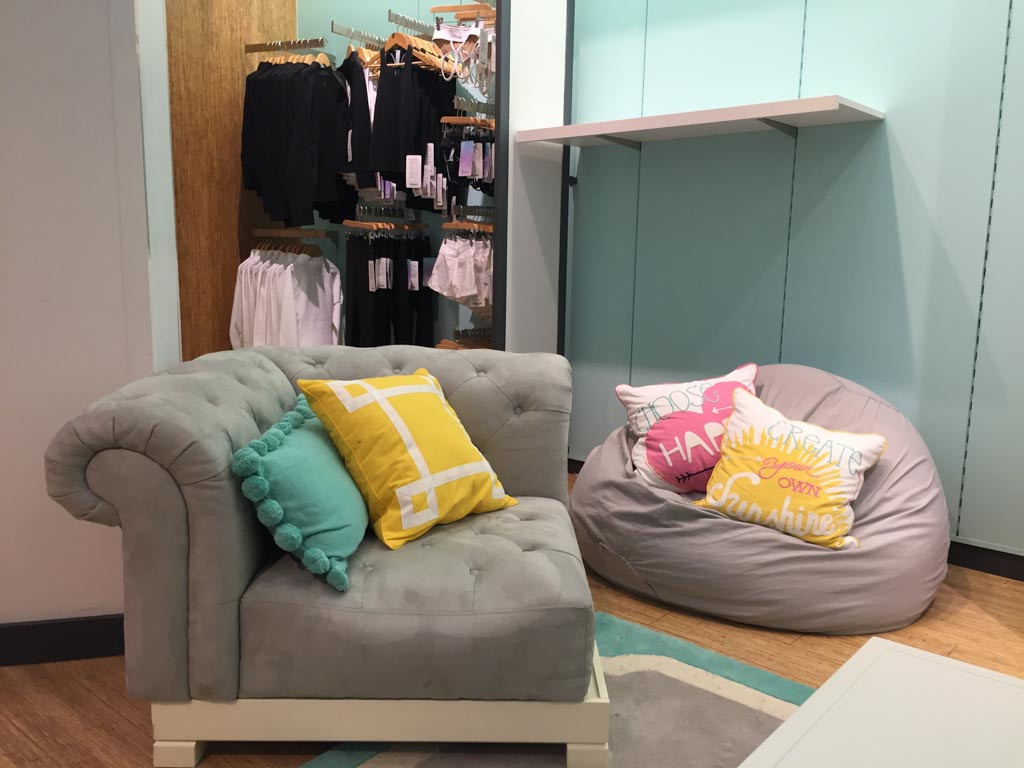 waiting area in the change rooms at Ivivva Metrotown
