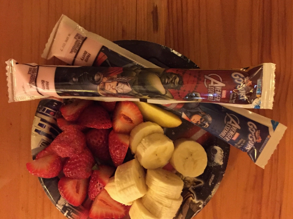 Fruits and yogurt tubes for breakfast