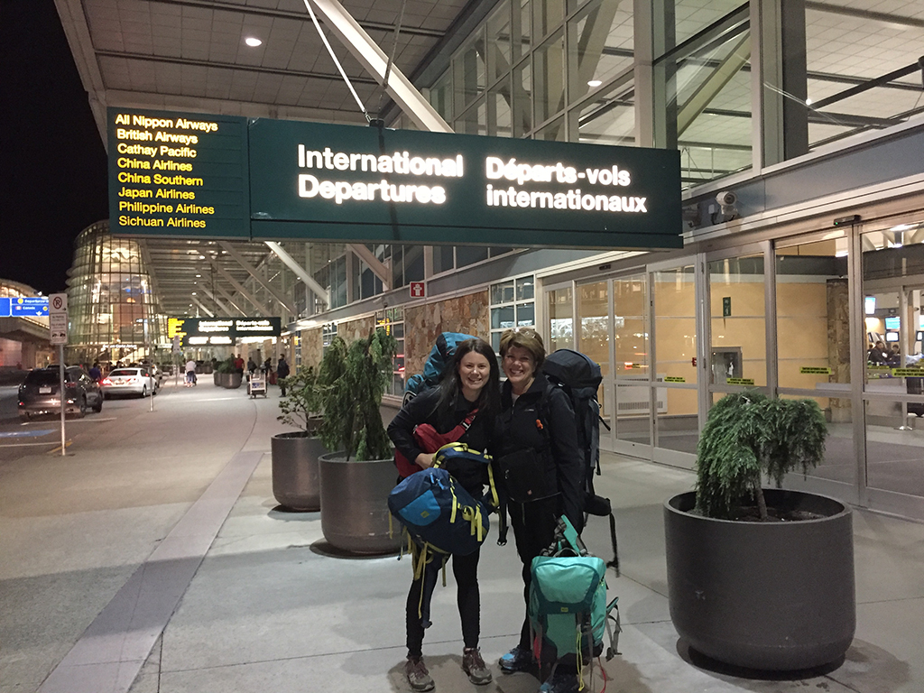 two women outside Vancouver International Airport