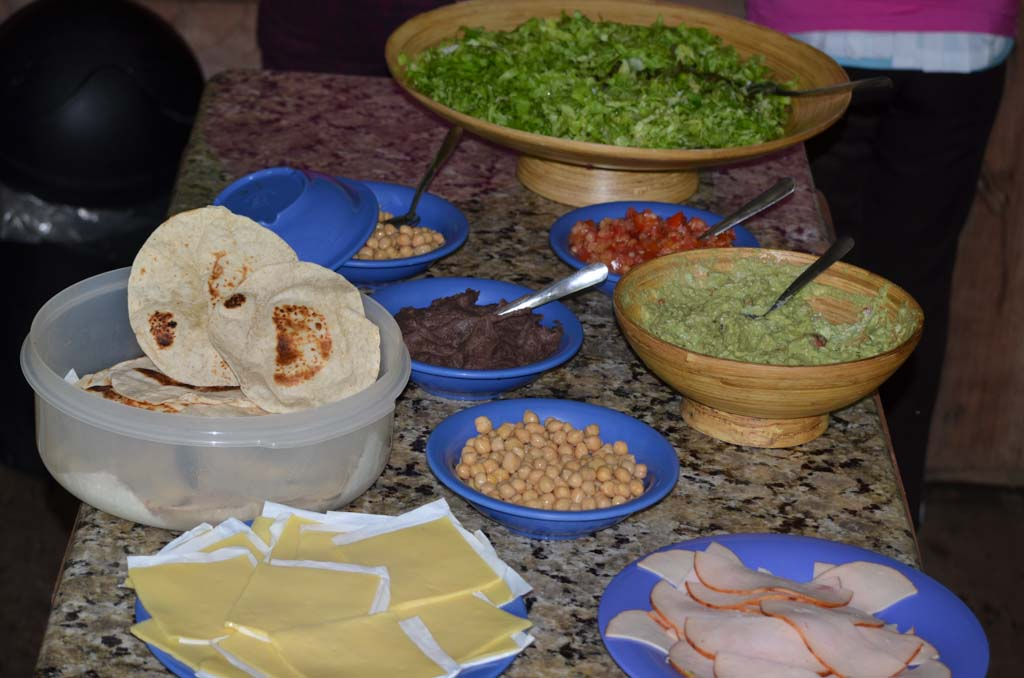 vegetarian fajita buffet lunch at the Run Like a Girl Adventure Retreat in Costa Rica