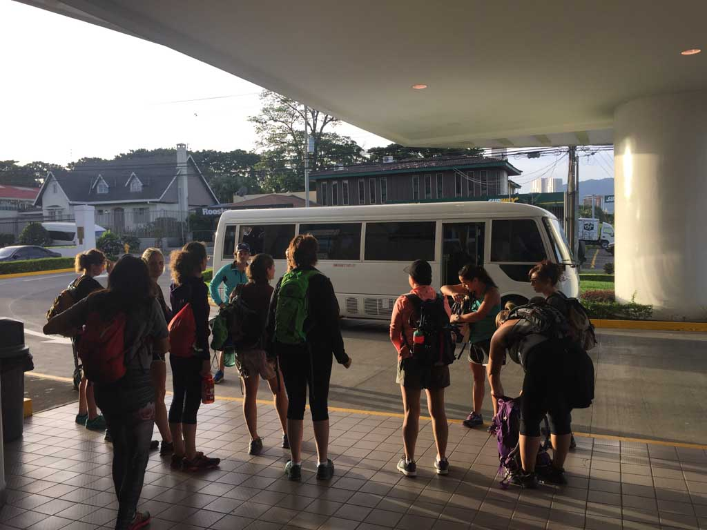 getting on the bus for the Run Like a Girl Adventure and Wellness Retreat in Costa Rica
