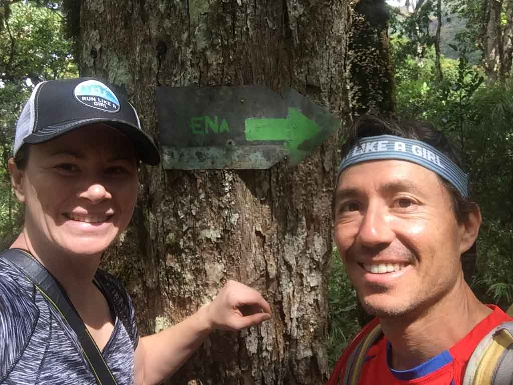 two hikers on the Ena trail in Costa Rica