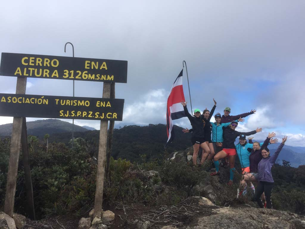 group of hikers at the top of Ena in Costa Rica