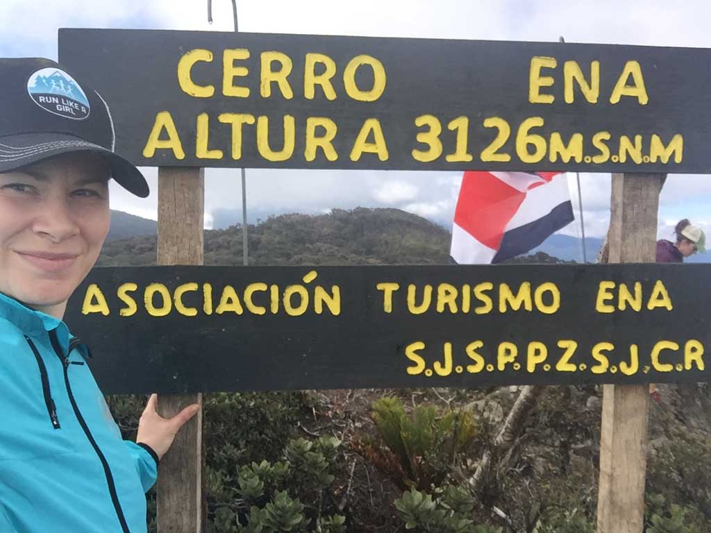 hiker at the top of the Ena hike in Costa RIca