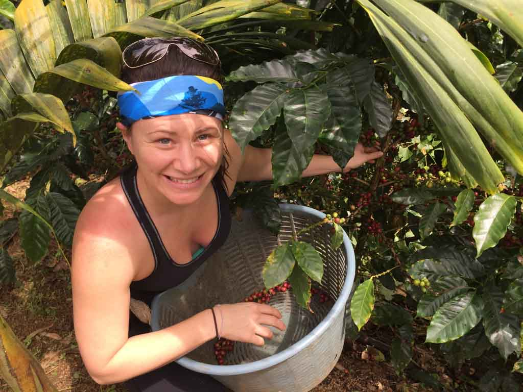 picking coffee beans at the Run Like a Girl Adventure and Wellness Retreat in Costa Rica