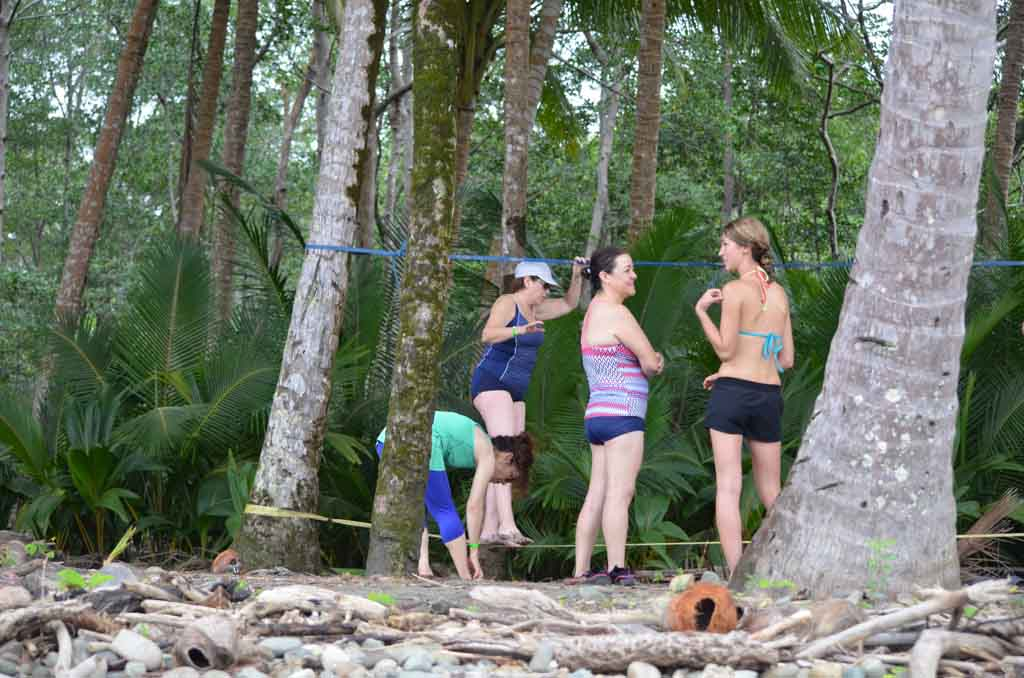 slack lining on the beach in costa rica