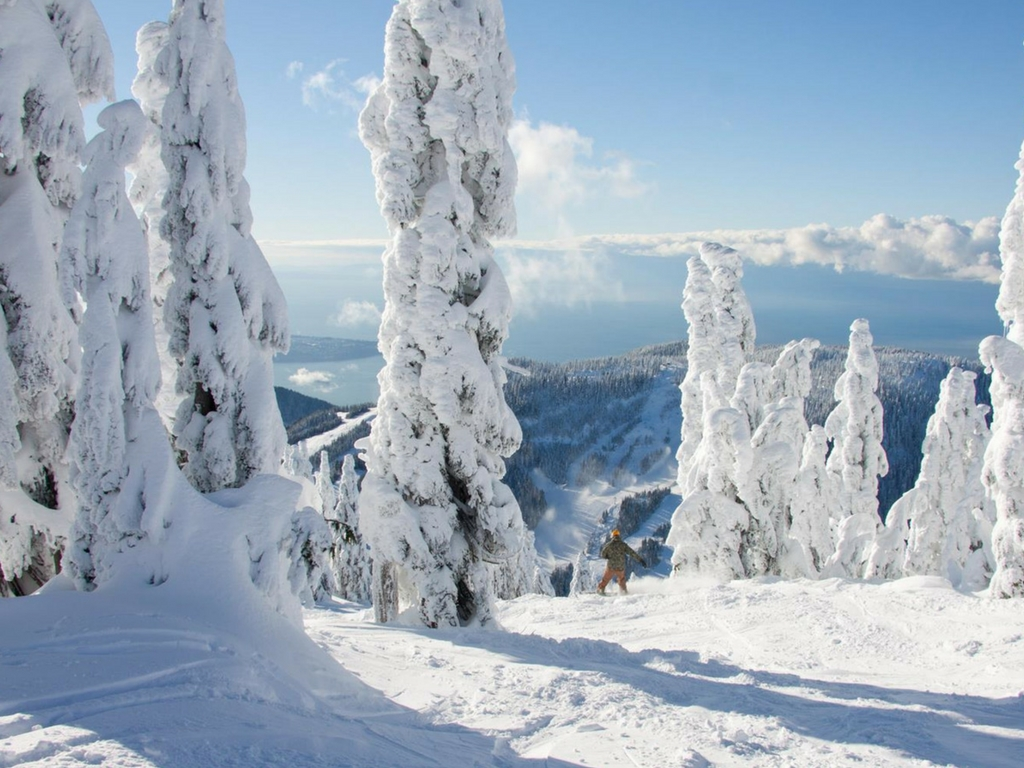 snowboarder on Cypress Mountain