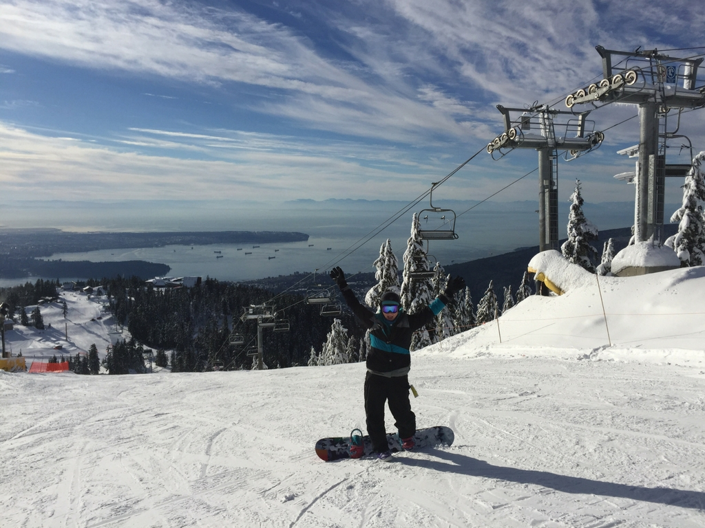 woman snowboarding on Grouse Mountain
