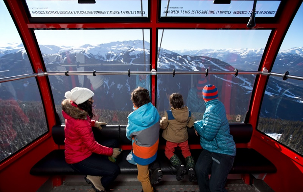Family on a gondola at Whistler Blackcomb