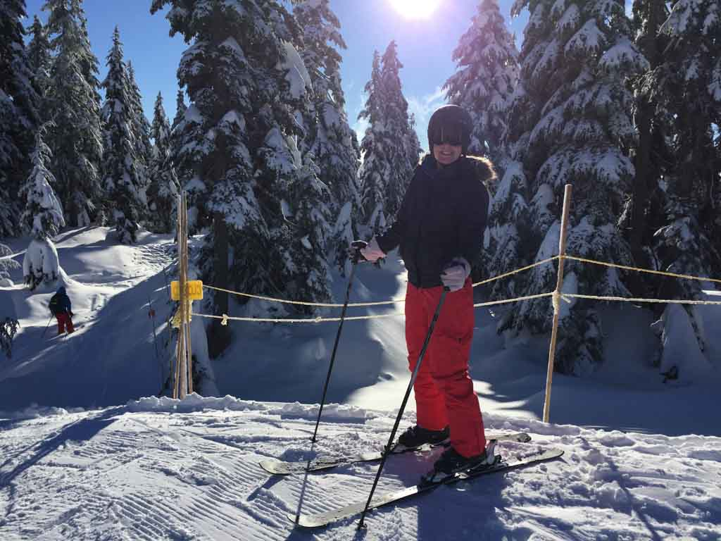 woman skiing on cypress mountain