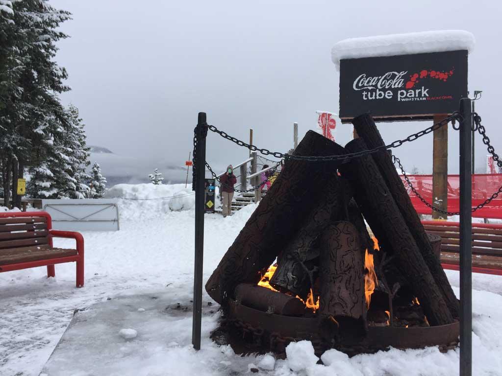fire pit at whistler tube park