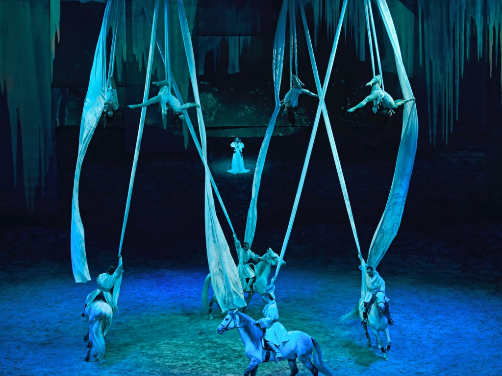aerial artists in Cavalia Odysseo show