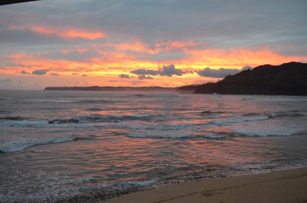 sunrise over the Hanalei Colony Resort