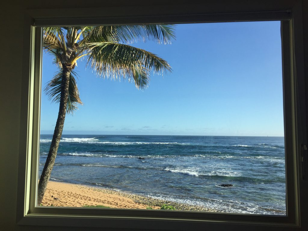 ocean view from the bedroom at the Hanalei Colony Resort
