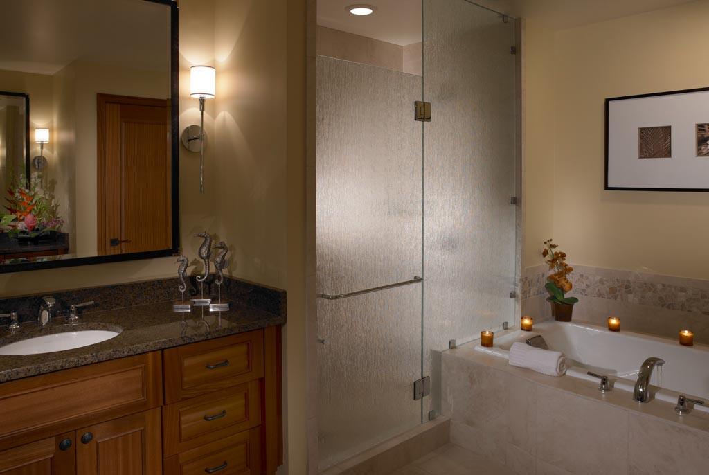 Master bathroom at the Koloa landing resort
