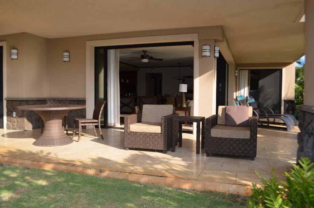 Patio at the Koloa landing resort