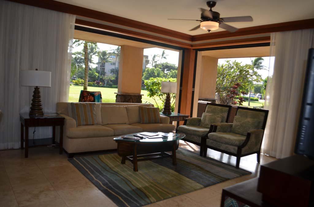 Living room at Koloa landing resort