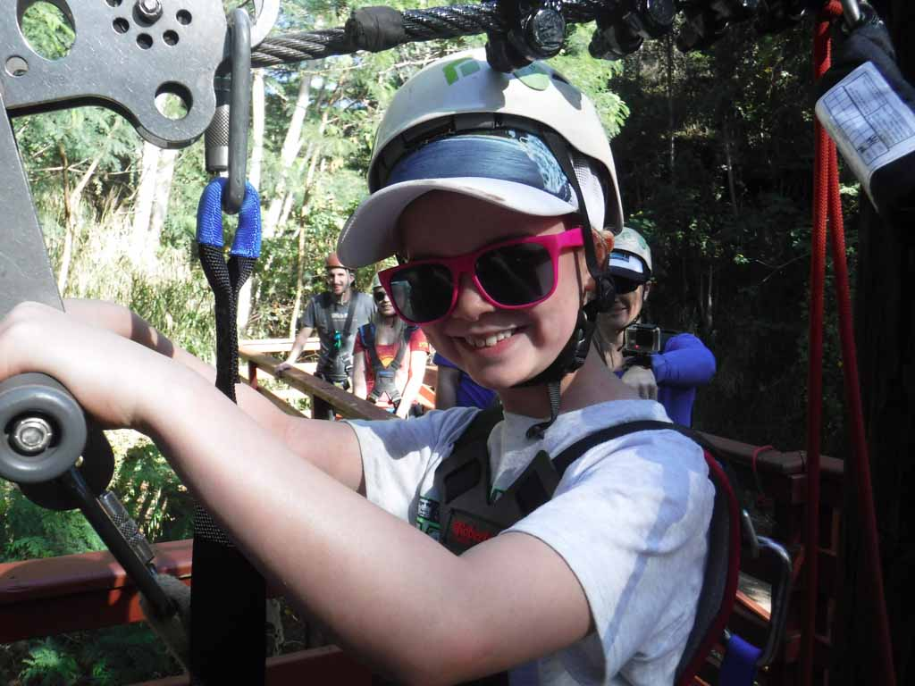 Girl ready to go Kauai ziplining