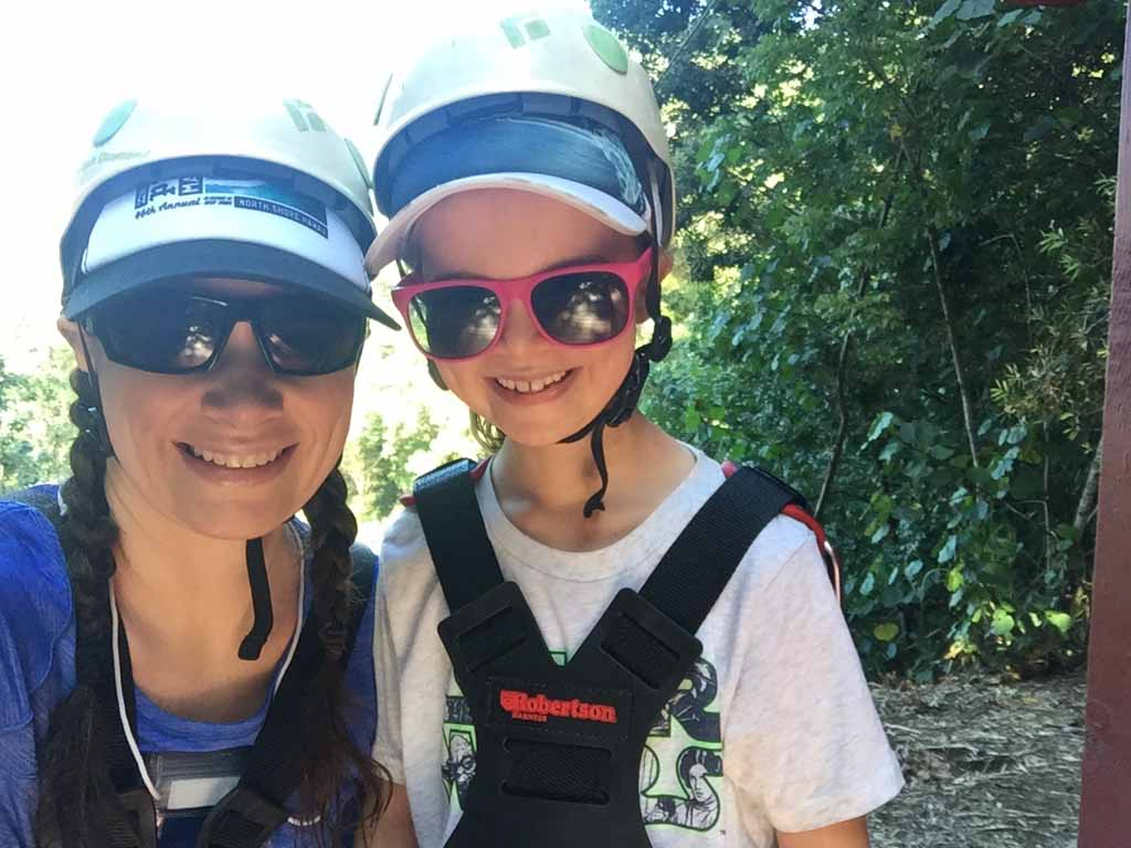 Mother and daughter after the zip-line adventure