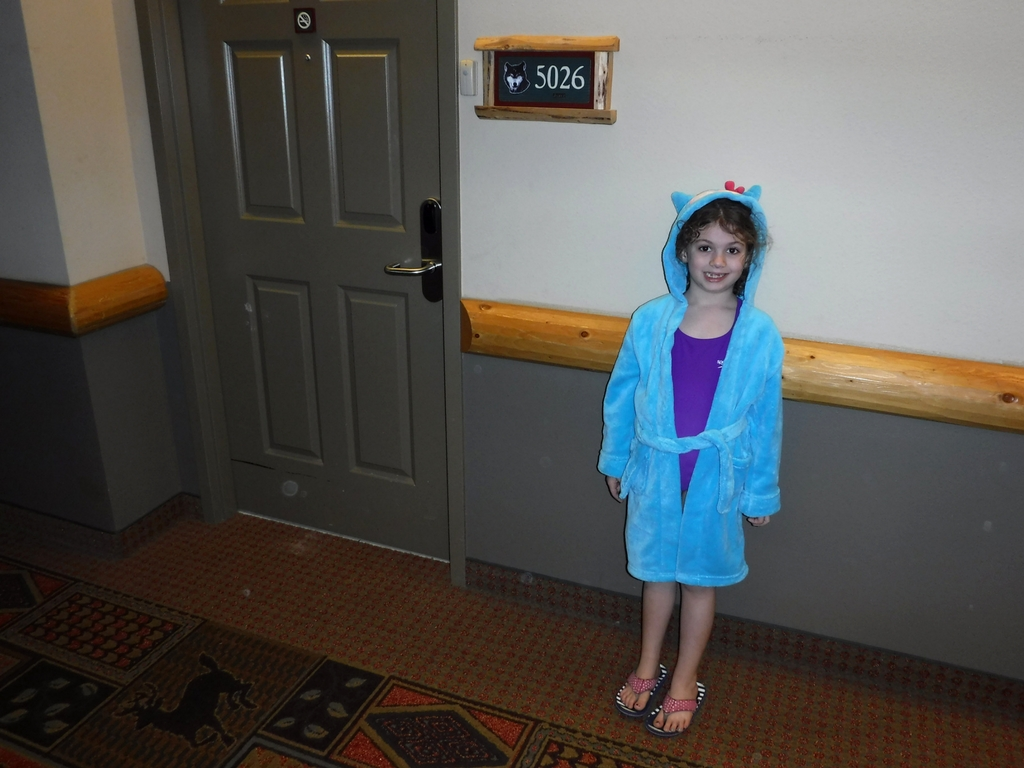 Girl wearing robe at Great Wolf Lodge