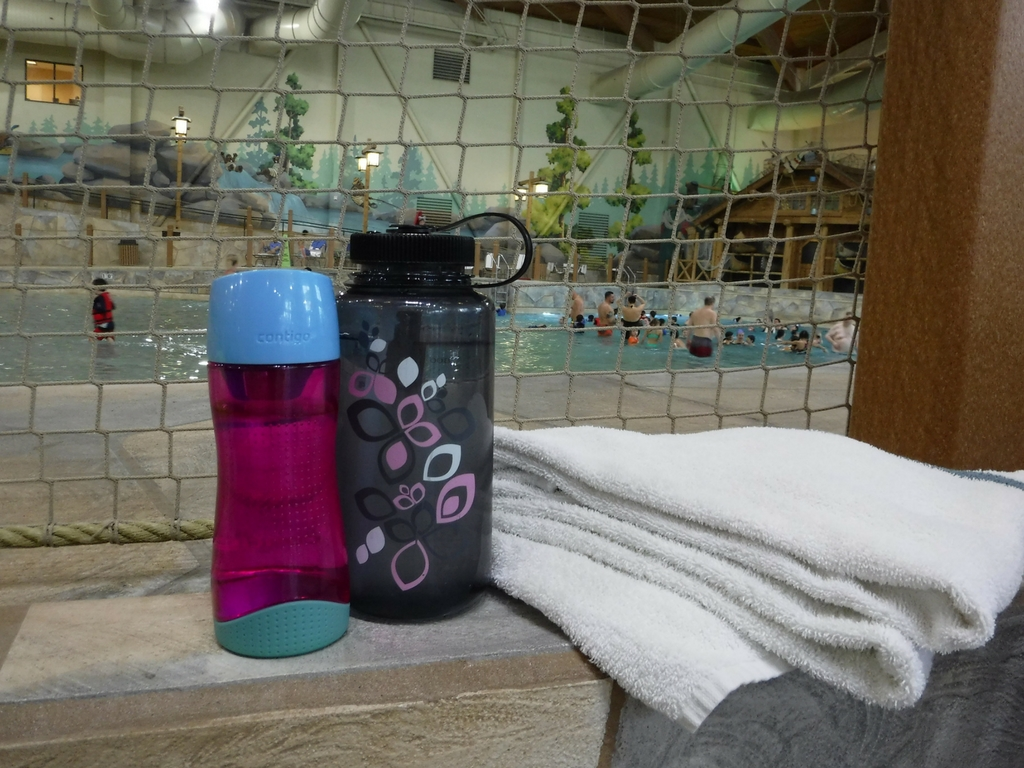 Reusable water bottles at Great Wolf Lodge