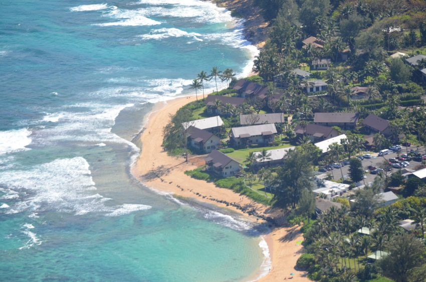 hanalei colony resort view from a helicopter