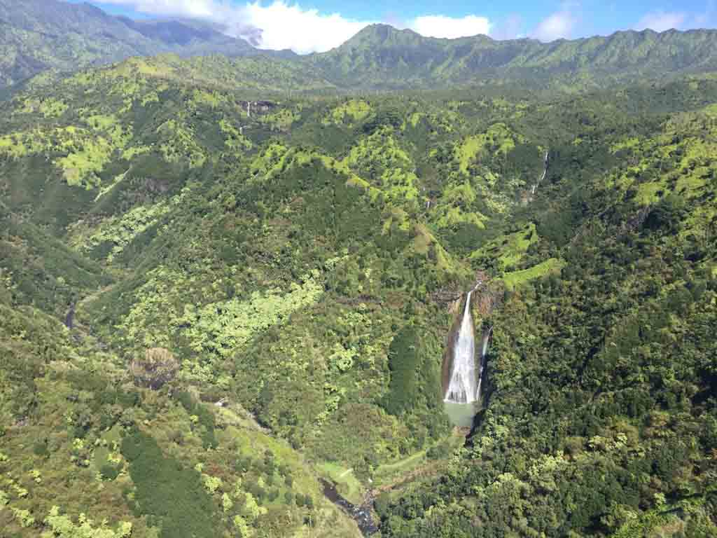 view of waterfall from helicopter
