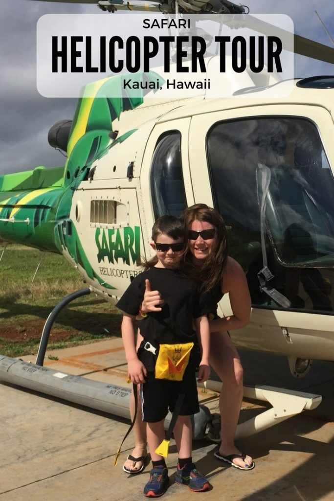 mother and son outside of helicopter in kauai