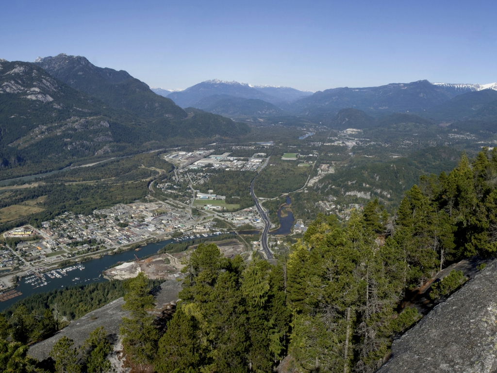 Looking down at the town of Squamish