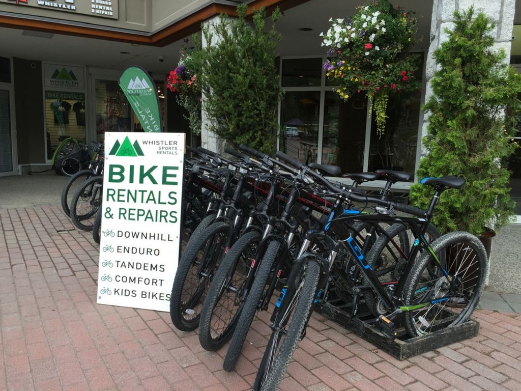 Bikes outside whistler sports rentals