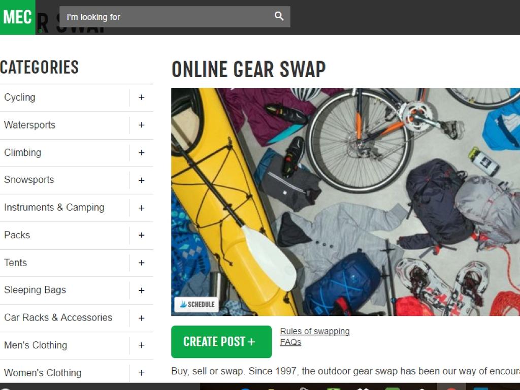 MEC online gear swap for the best deals on outdoor gear