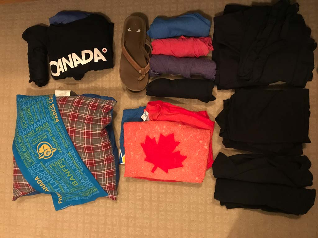 Woman's clothes example of what to pack for a road trip